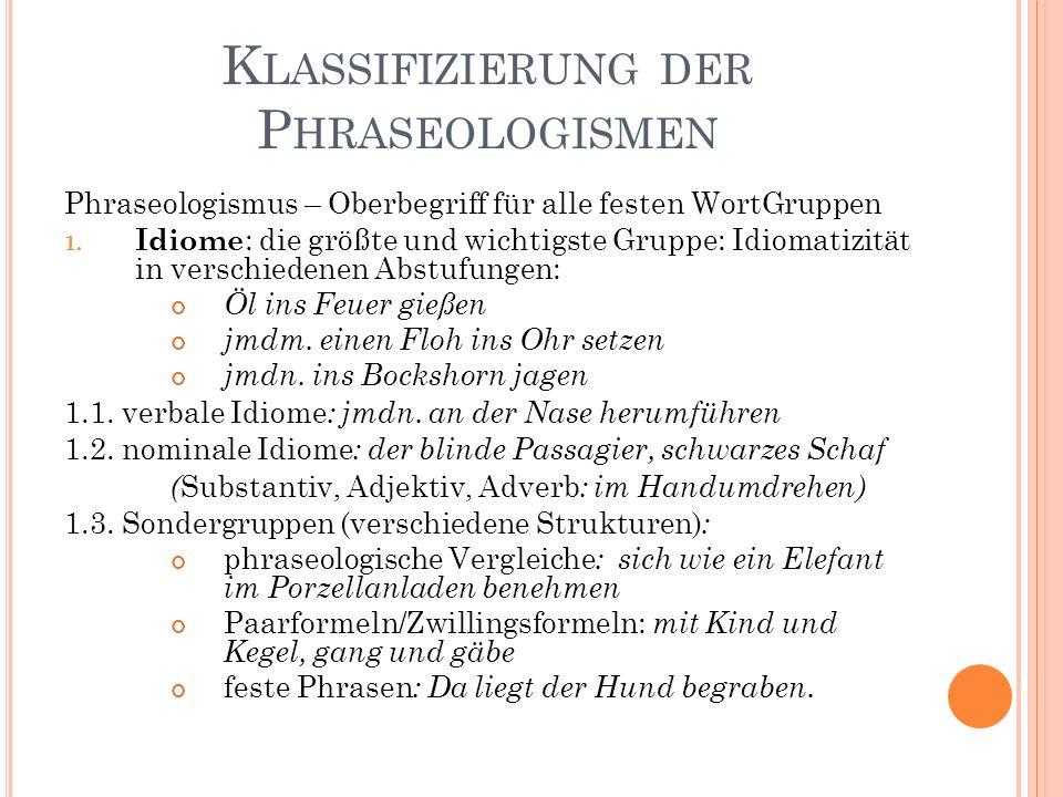 K LASSIFIZIERUNG DER P HRASEOLOGISMEN Phraseologismus – Oberbegriff für alle festen WortGruppen 1.