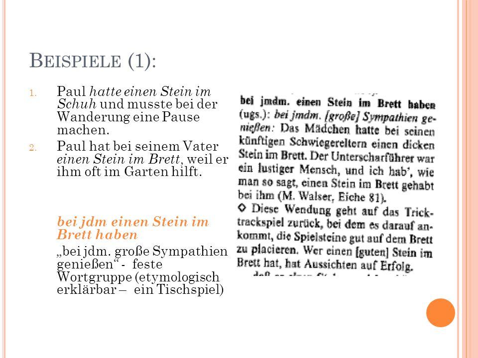 B EISPIELE (1): 1. Paul hatte einen Stein im Schuh und musste bei der Wanderung eine Pause machen.