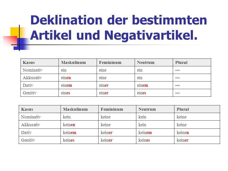 Deklination der bestimmten Artikel und Negativartikel. KasusMaskulinumFemininumNeutrumPlural Nominativeineineein--- Akkusativeineneineein--- Dativeine