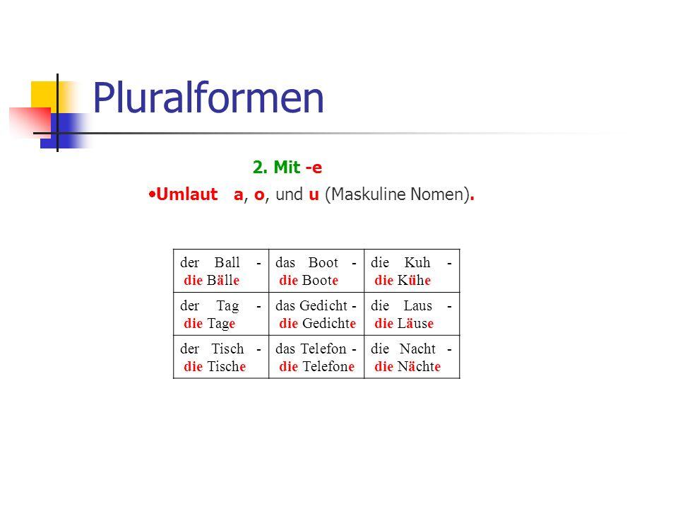 Pluralformen 2. Mit -e  Umlaut a, o, und u (Maskuline Nomen).