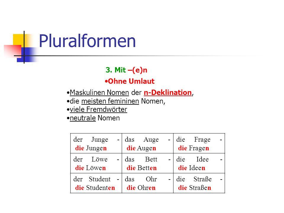 Pluralformen 3. Mit –(e)n  Ohne Umlaut Maskulinen Nomen der n-Deklination,n-Deklination die meisten femininen Nomen, viele Fremdwörter neutrale Nomen