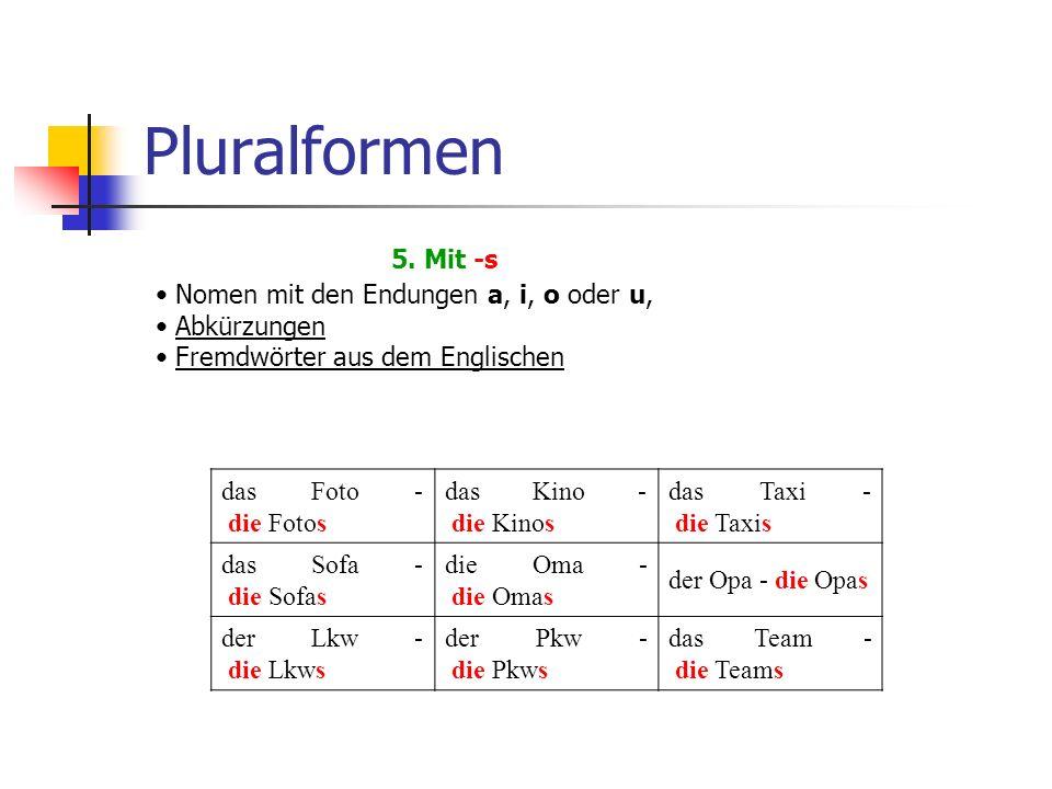 Pluralformen 5.