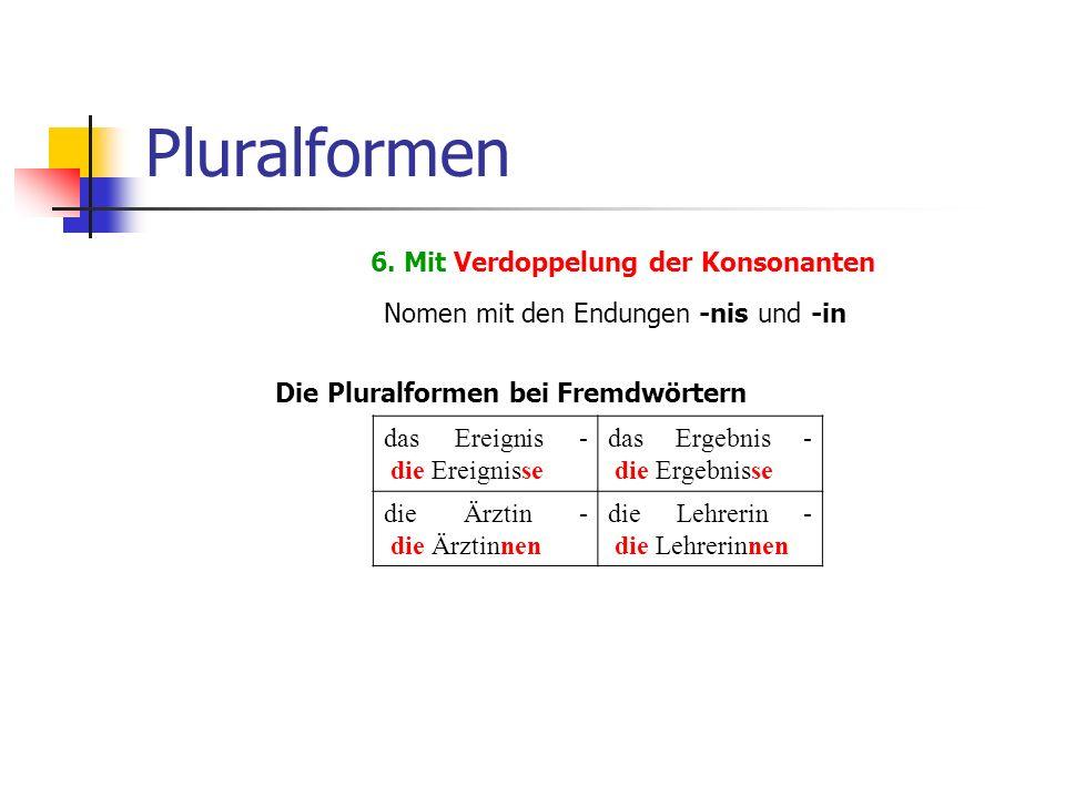 Pluralformen 6. Mit Verdoppelung der Konsonanten Nomen mit den Endungen -nis und -in das Ereignis - die Ereignisse das Ergebnis - die Ergebnisse die Ä