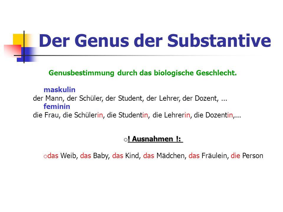Der Genus der Substantive Genusbestimmung durch das biologische Geschlecht. maskulin der Mann, der Schüler, der Student, der Lehrer, der Dozent,... fe