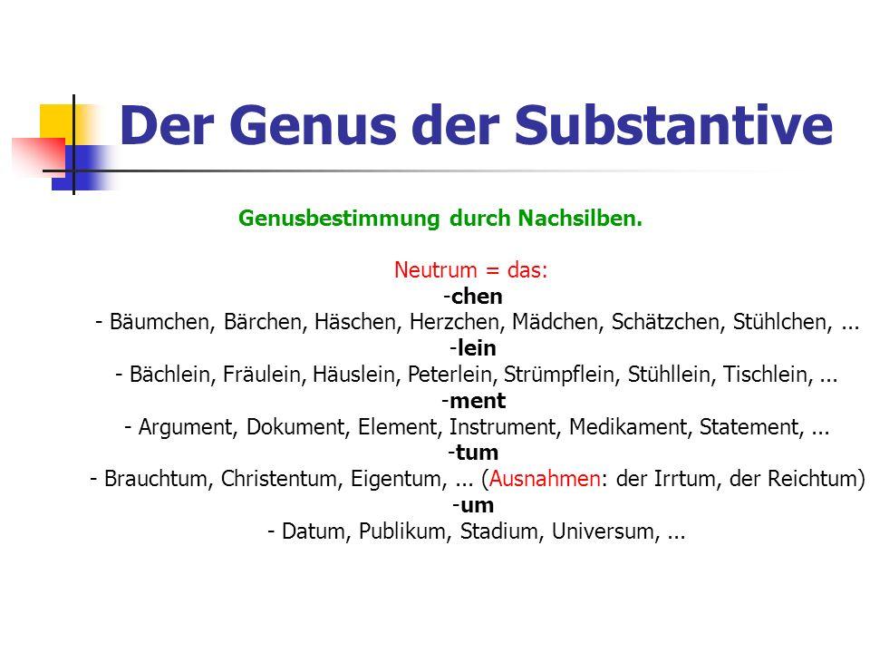 Der Genus der Substantive Genusbestimmung durch Nachsilben. Neutrum = das: -chen - Bäumchen, Bärchen, Häschen, Herzchen, Mädchen, Schätzchen, Stühlche