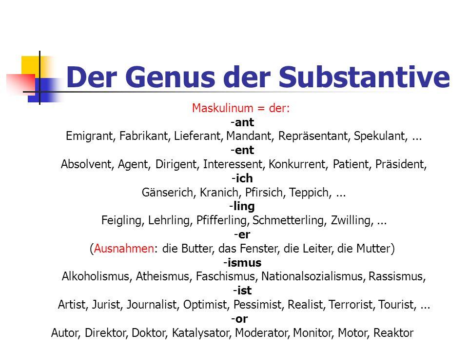 Maskulinum = der: -ant Emigrant, Fabrikant, Lieferant, Mandant, Repräsentant, Spekulant,... -ent Absolvent, Agent, Dirigent, Interessent, Konkurrent,