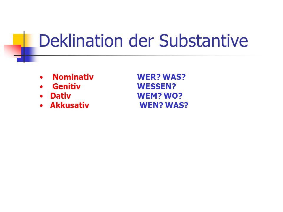 Deklination der Substantive Nominativ Genitiv Dativ Akkusativ WER? WAS? WESSEN? WEM? WO? WEN? WAS?