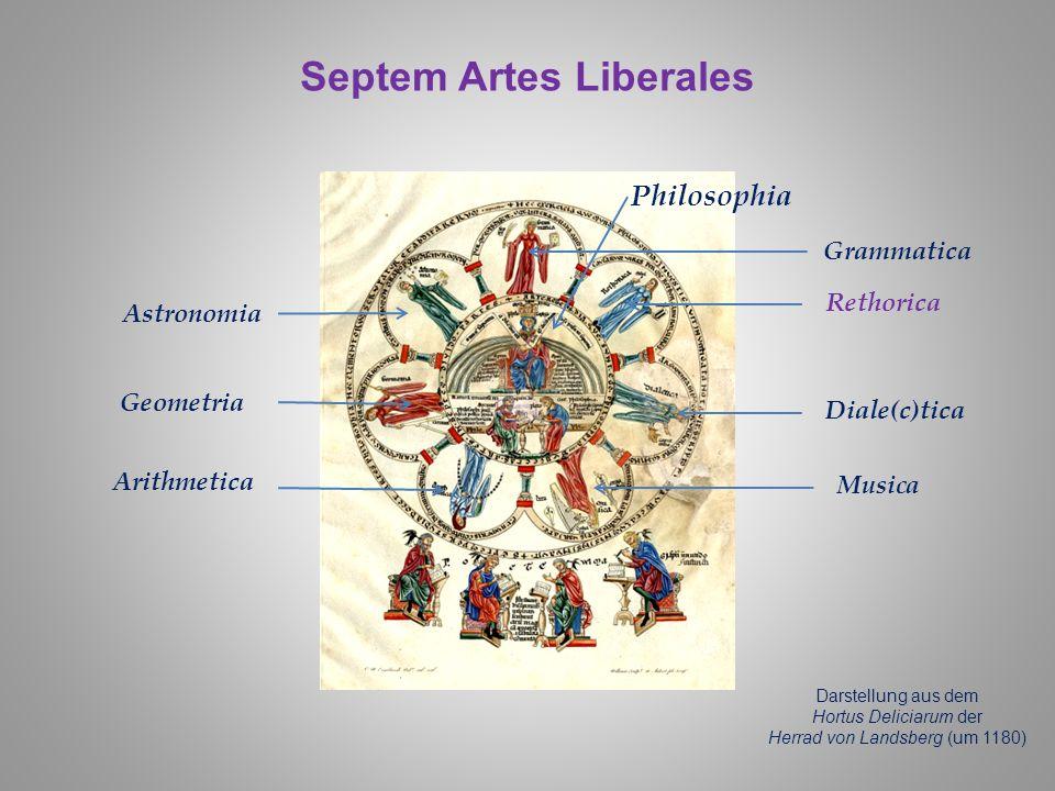 Septem Artes Liberales Darstellung aus dem Hortus Deliciarum der Herrad von Landsberg (um 1180) Philosophia Grammatica Rethorica Musica Diale(c)tica A