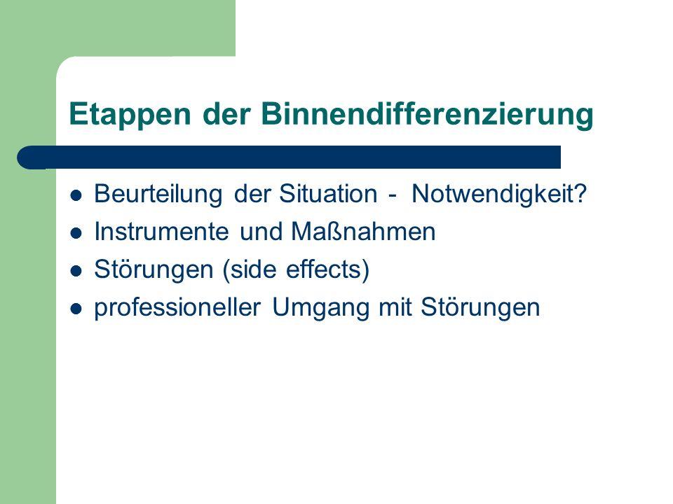 Etappen der Binnendifferenzierung Beurteilung der Situation - Notwendigkeit? Instrumente und Maßnahmen Störungen (side effects) professioneller Umgang