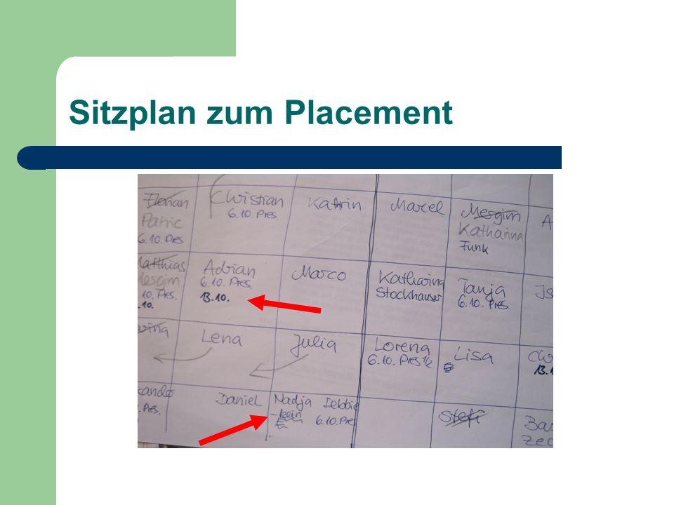 Sitzplan zum Placement