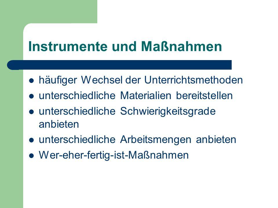 Erarbeitungsdifferenzierung unterschiedliche Materialien, z.