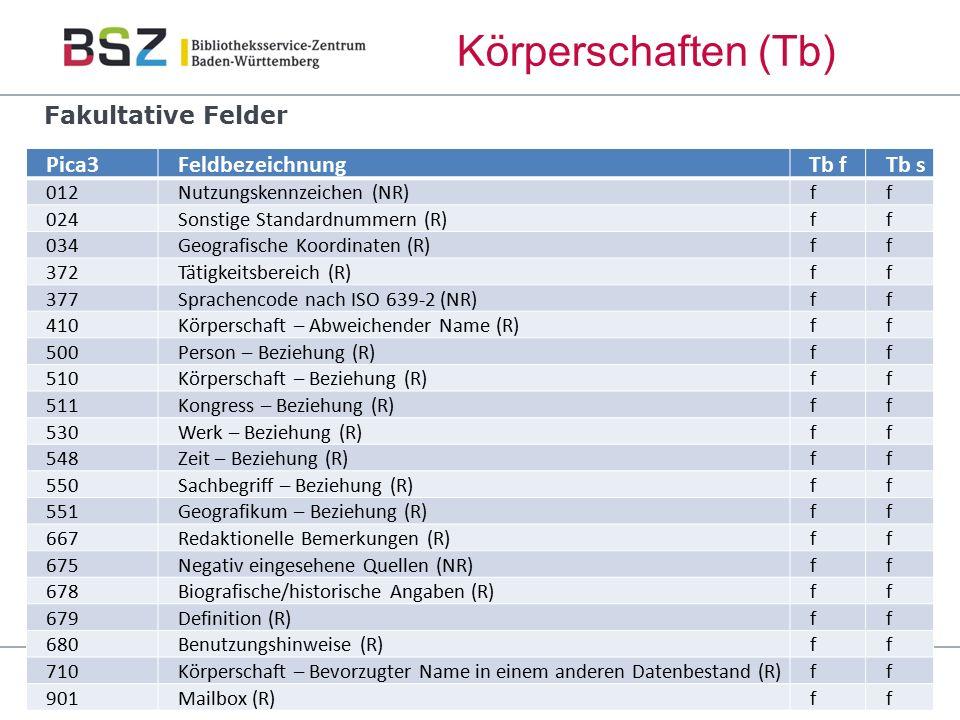 106 Körperschaften (Tb) GND-Schulung Pica3FeldbezeichnungTb fTb s 012Nutzungskennzeichen (NR)ff 024Sonstige Standardnummern (R)ff 034Geografische Koor