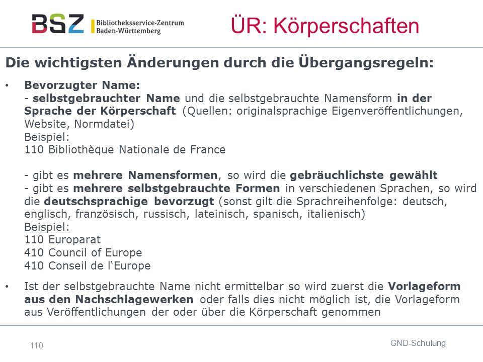 110 ÜR: Körperschaften Die wichtigsten Änderungen durch die Übergangsregeln: Bevorzugter Name: - selbstgebrauchter Name und die selbstgebrauchte Namen