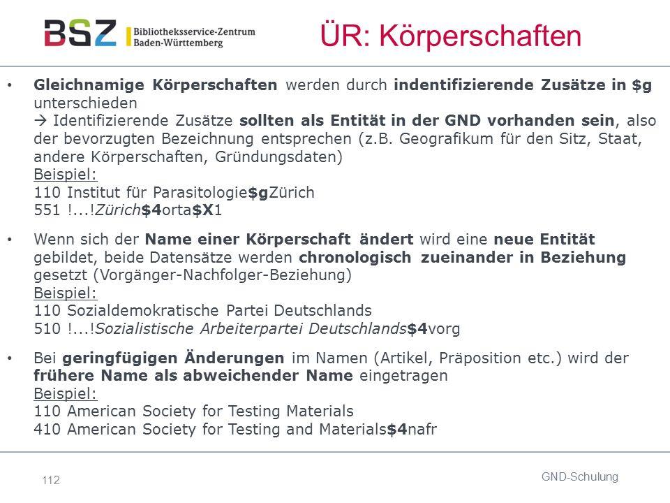 112 ÜR: Körperschaften Gleichnamige Körperschaften werden durch indentifizierende Zusätze in $g unterschieden  Identifizierende Zusätze sollten als E