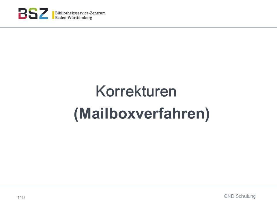 119 Korrekturen (Mailboxverfahren) GND-Schulung