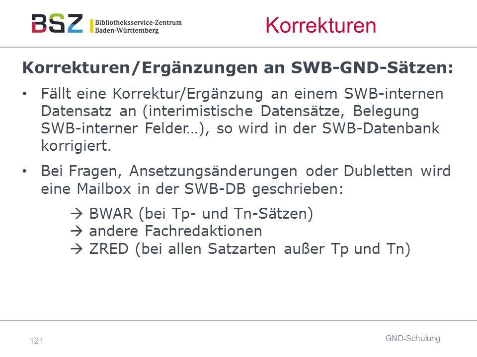 121 Korrekturen Korrekturen/Ergänzungen an SWB-GND-Sätzen: Fällt eine Korrektur/Ergänzung an einem SWB-internen Datensatz an (interimistische Datensät