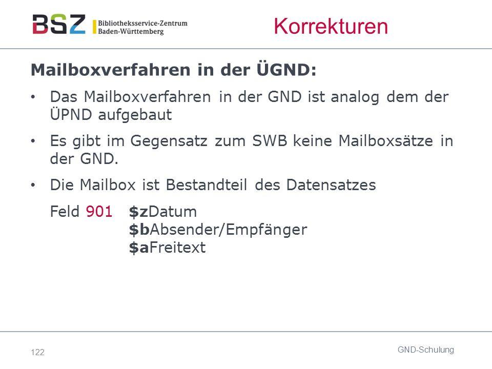 122 Korrekturen Mailboxverfahren in der ÜGND: Das Mailboxverfahren in der GND ist analog dem der ÜPND aufgebaut Es gibt im Gegensatz zum SWB keine Mai