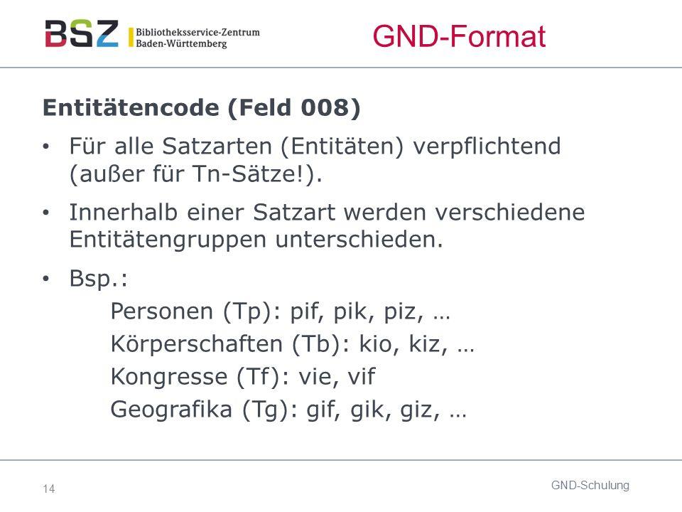 14 GND-Format Entitätencode (Feld 008) Für alle Satzarten (Entitäten) verpflichtend (außer für Tn-Sätze!). Innerhalb einer Satzart werden verschiedene