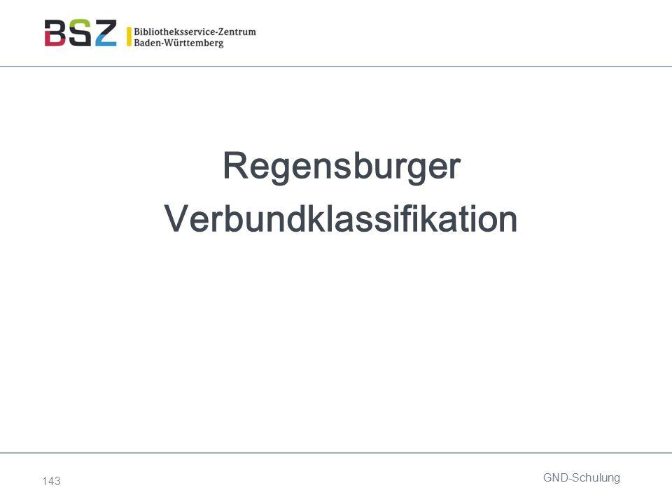 143 Regensburger Verbundklassifikation GND-Schulung