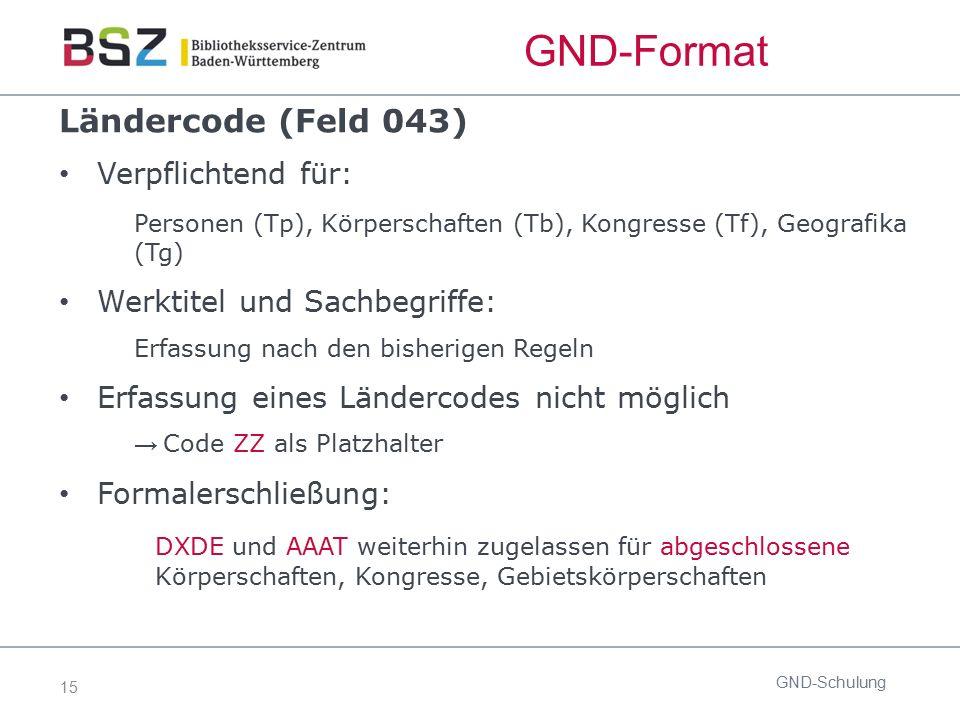 15 GND-Format Ländercode (Feld 043) Verpflichtend für: Personen (Tp), Körperschaften (Tb), Kongresse (Tf), Geografika (Tg) Werktitel und Sachbegriffe: