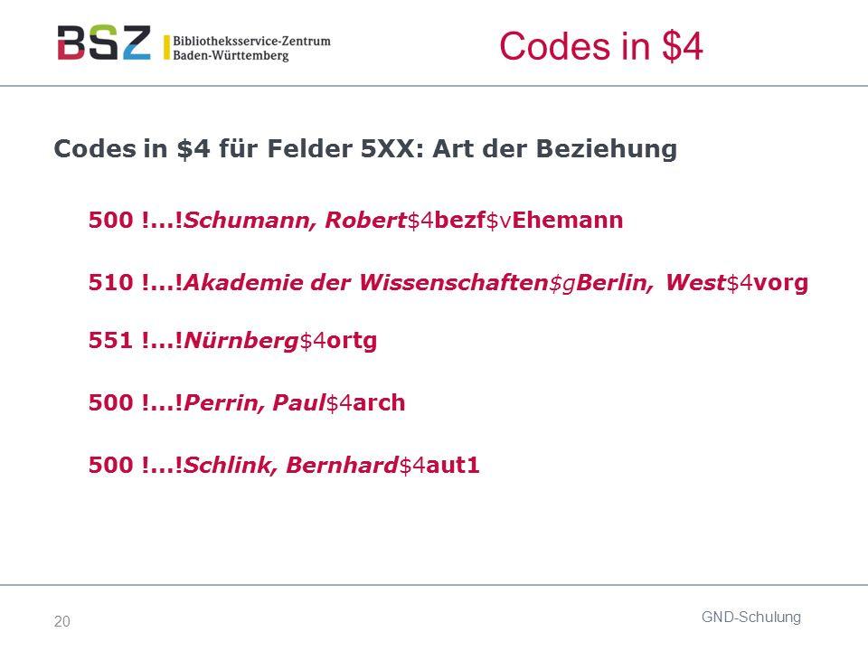 20 Codes in $4 Codes in $4 für Felder 5XX: Art der Beziehung 500 !...!Schumann, Robert$4bezf$vEhemann 510 !...!Akademie der Wissenschaften$gBerlin, We