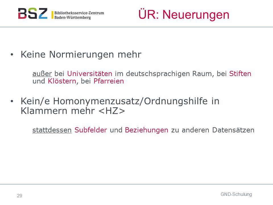 29 ÜR: Neuerungen GND-Schulung Keine Normierungen mehr außer bei Universitäten im deutschsprachigen Raum, bei Stiften und Klöstern, bei Pfarreien Kein
