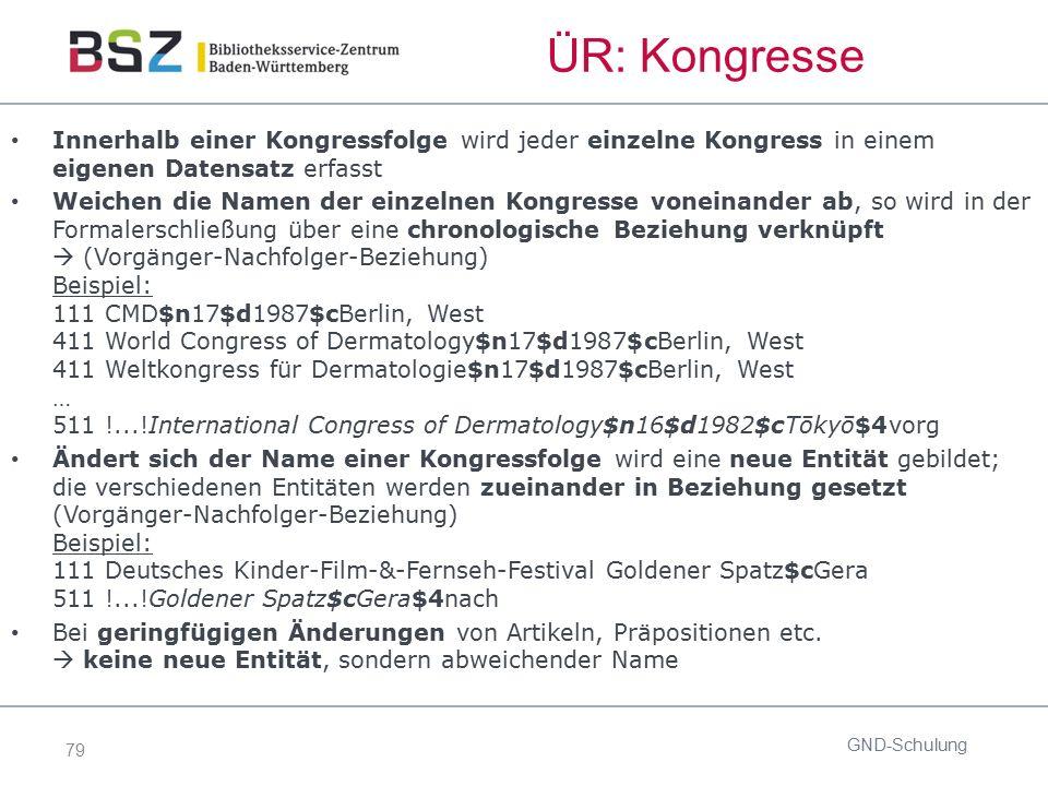 79 ÜR: Kongresse Innerhalb einer Kongressfolge wird jeder einzelne Kongress in einem eigenen Datensatz erfasst Weichen die Namen der einzelnen Kongres
