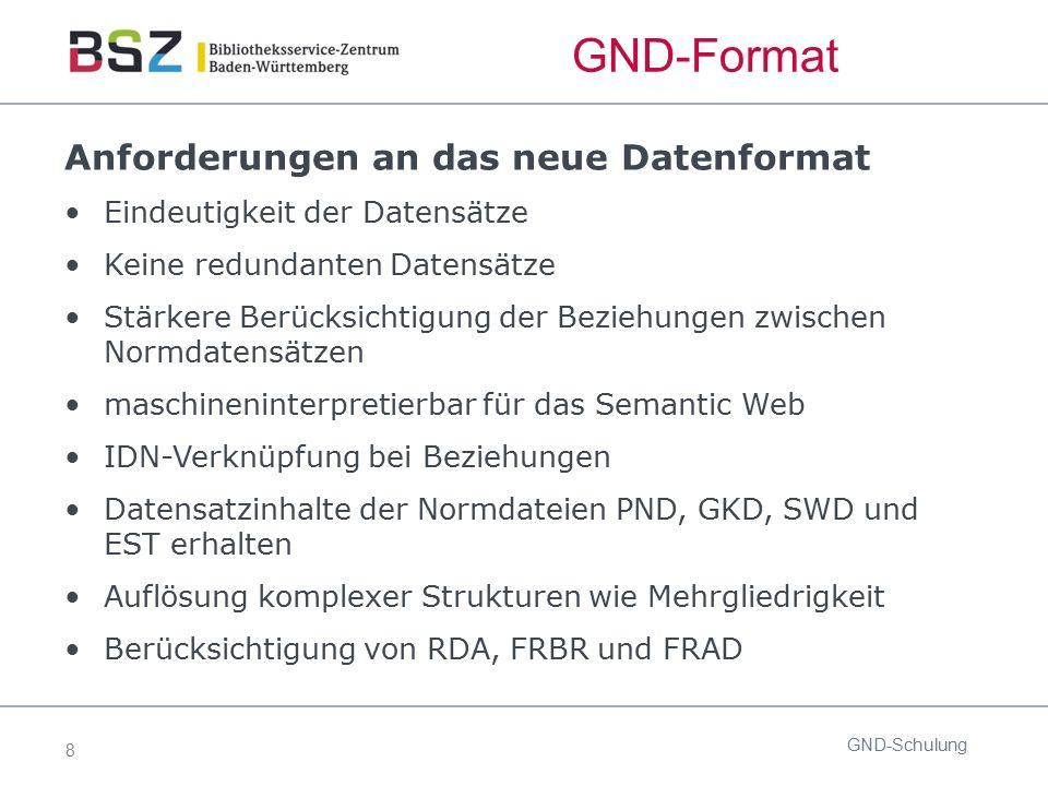 8 GND-Format Anforderungen an das neue Datenformat Eindeutigkeit der Datensätze Keine redundanten Datensätze Stärkere Berücksichtigung der Beziehungen
