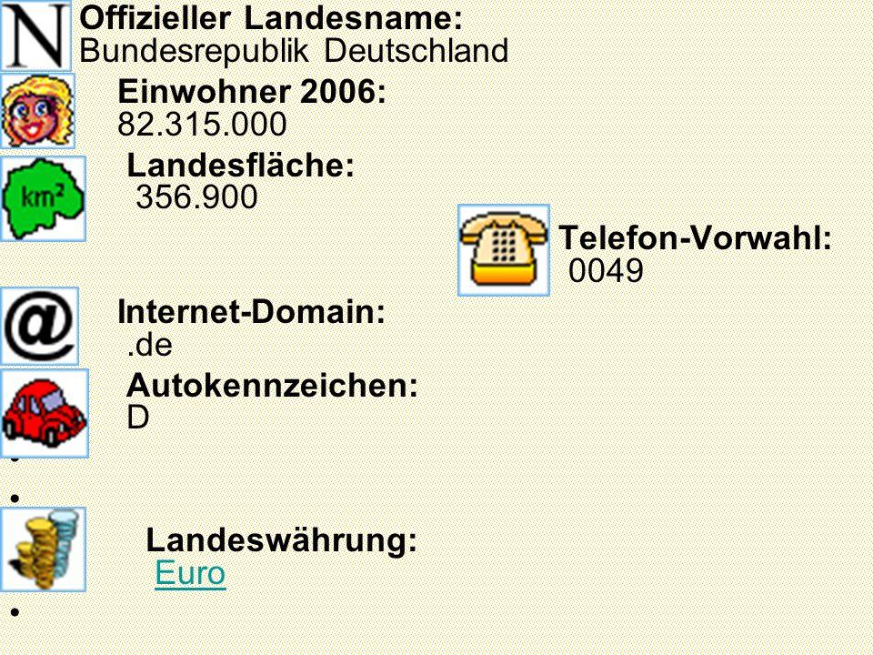 Offizieller Landesname: Bundesrepublik Deutschland Einwohner 2006: 82.315.000 Landesfläche: 356.900 Telefon-Vorwahl: 0049 Internet-Domain:.de Autokennzeichen: D Landeswährung: Euro Euro