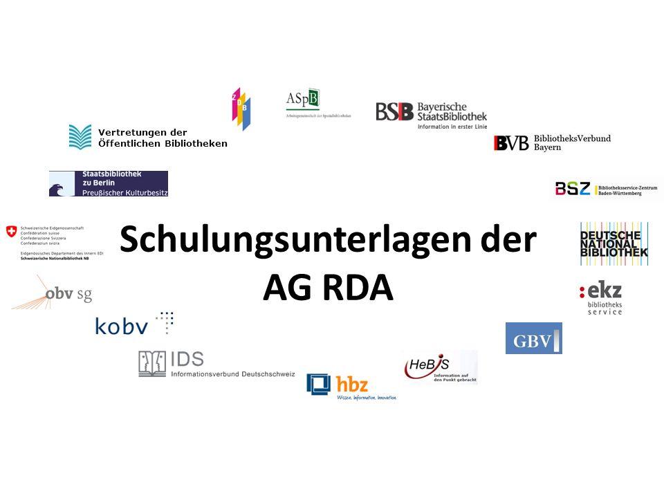 42 AG RDA Schulungsunterlagen – Modul GND: Allgemeine Körperschaften   Stand: 17.04.2014 Sonstige identifizierende Merkmale [8] Sonstige zur Körperschaft gehörende Kennzeichnung (RDA 11.7 / RDA 11.13.1.2 und RDA 11.13.1.7 ) Wort, Phrase oder Abkürzung, die rechtlichen Status anzeigt ein beliebiger Ausdruck (in deutscher Sprache) wenn Name nicht an eine Körperschaft denken lässt (RDA 11.7.1.4) zur Unterscheidung gleichnamiger Körperschaften (RDA 11.7.1.6)