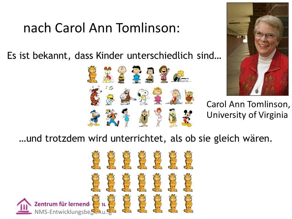 nach Carol Ann Tomlinson: Es ist bekannt, dass Kinder unterschiedlich sind… …und trotzdem wird unterrichtet, als ob sie gleich wären. Carol Ann Tomlin