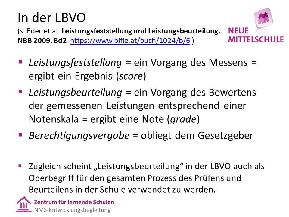 In der LBVO (s. Eder et al: Leistungsfeststellung und Leistungsbeurteilung. NBB 2009, Bd2 https://www.bifie.at/buch/1024/b/6 )https://www.bifie.at/buc