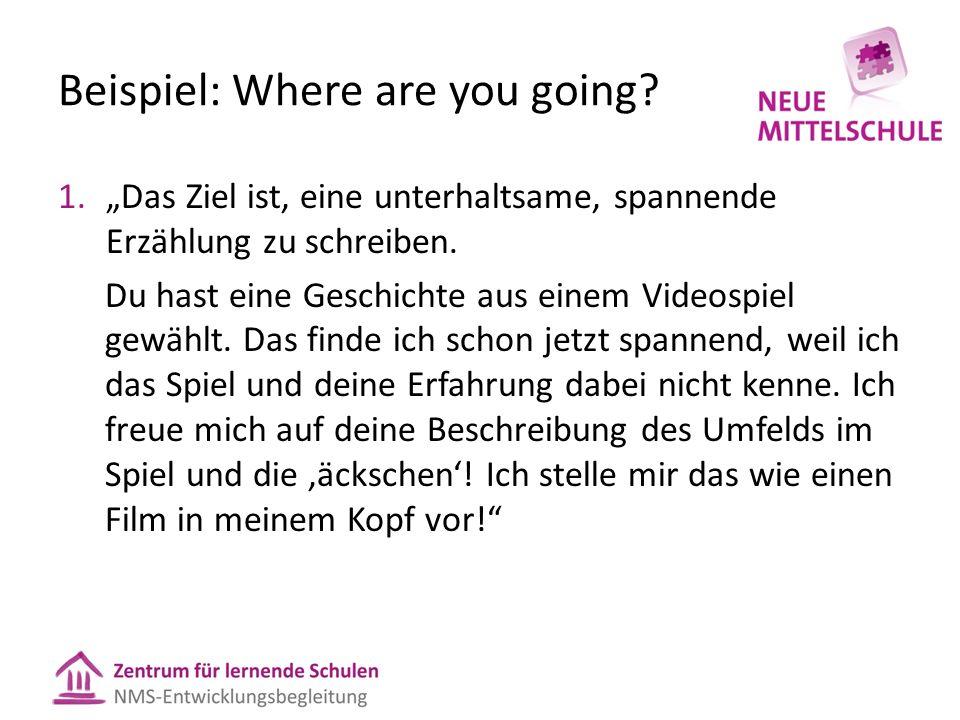 """Beispiel: Where are you going? 1.""""Das Ziel ist, eine unterhaltsame, spannende Erzählung zu schreiben. Du hast eine Geschichte aus einem Videospiel gew"""