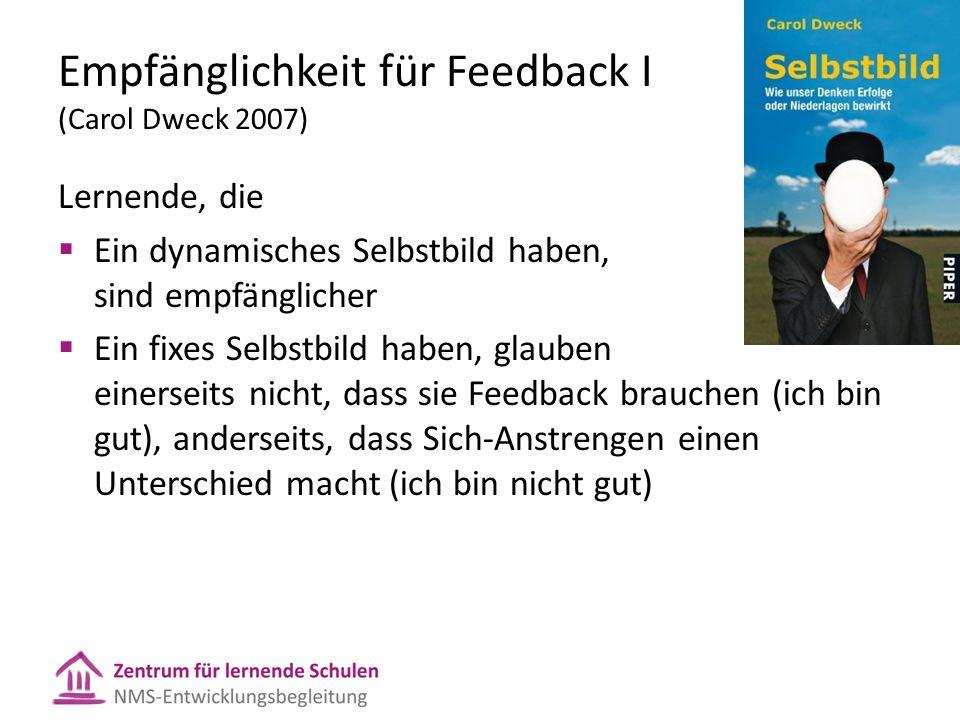 Empfänglichkeit für Feedback I (Carol Dweck 2007) Lernende, die  Ein dynamisches Selbstbild haben, sind empfänglicher  Ein fixes Selbstbild haben, g