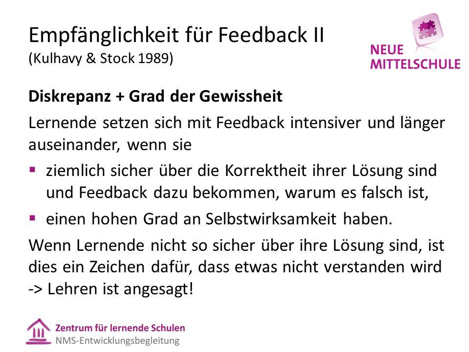 Empfänglichkeit für Feedback II (Kulhavy & Stock 1989) Diskrepanz + Grad der Gewissheit Lernende setzen sich mit Feedback intensiver und länger ausein