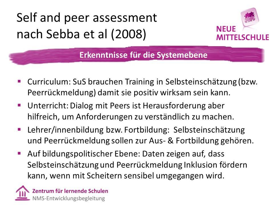 Self and peer assessment nach Sebba et al (2008)  Curriculum: SuS brauchen Training in Selbsteinschätzung (bzw. Peerrückmeldung) damit sie positiv wi