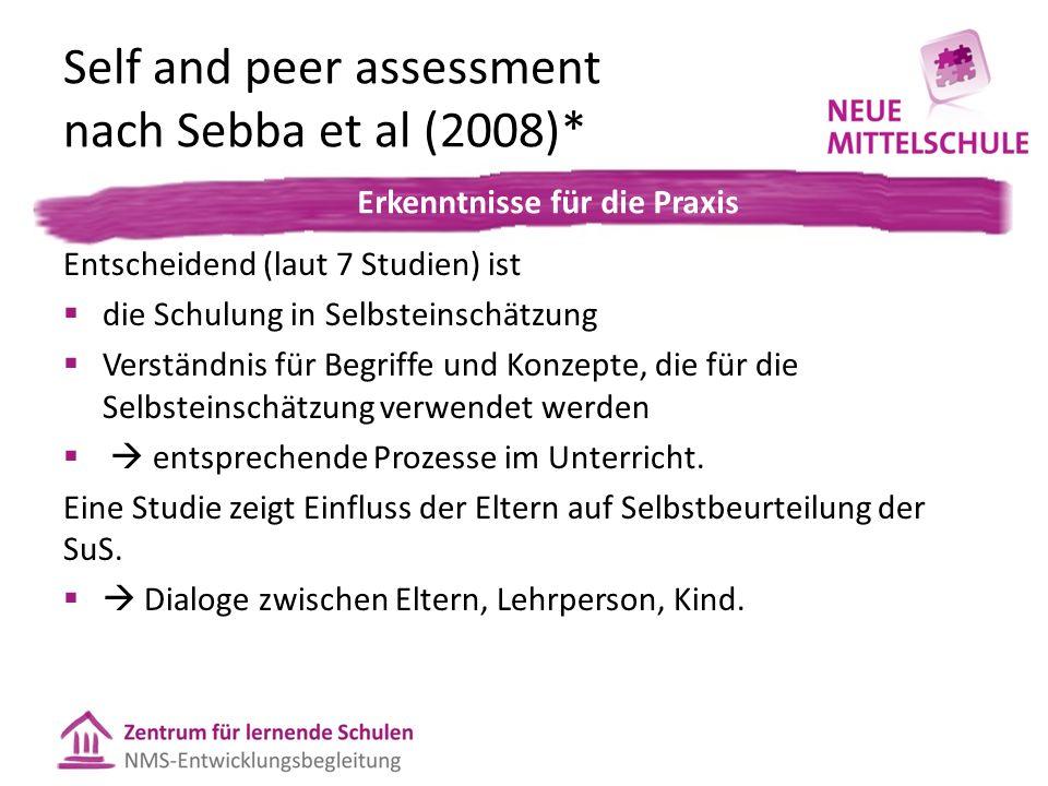 Self and peer assessment nach Sebba et al (2008)* In der Praxis: Entscheidend (laut 7 Studien) ist  die Schulung in Selbsteinschätzung  Verständnis