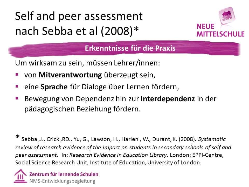 Self and peer assessment nach Sebba et al (2008)* In der Praxis: Um wirksam zu sein, müssen Lehrer/innen:  von Mitverantwortung überzeugt sein,  ein