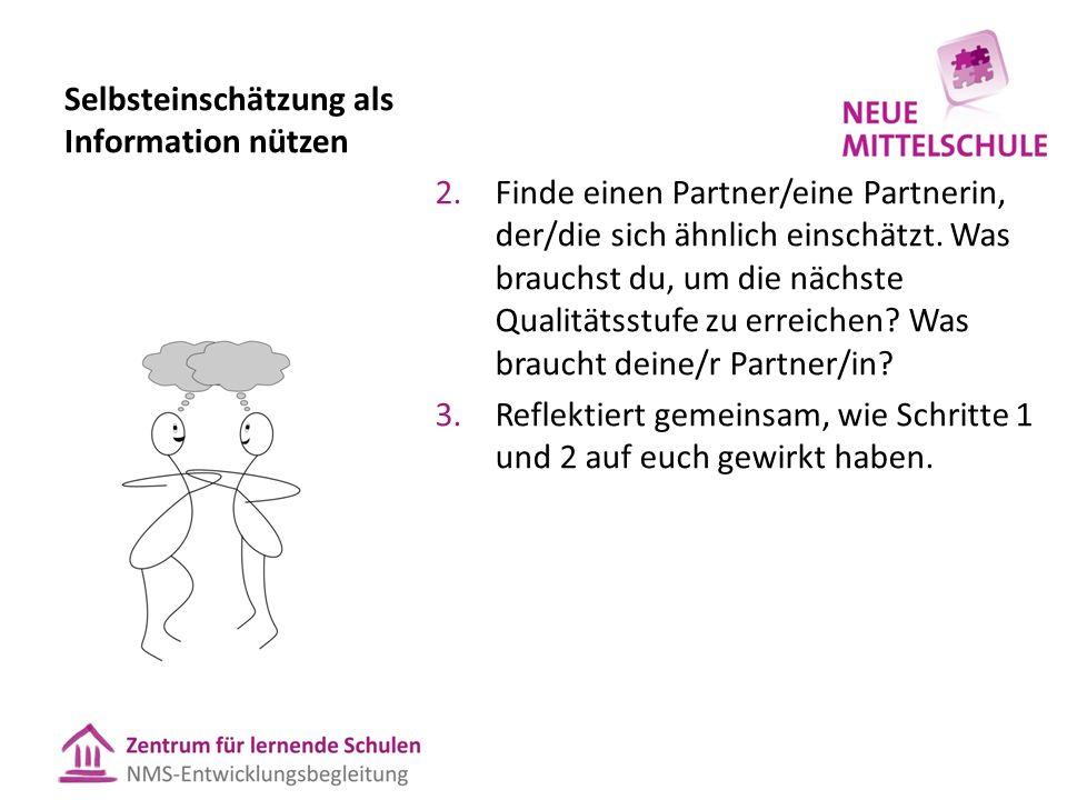 Selbsteinschätzung als Information nützen 2.Finde einen Partner/eine Partnerin, der/die sich ähnlich einschätzt. Was brauchst du, um die nächste Quali
