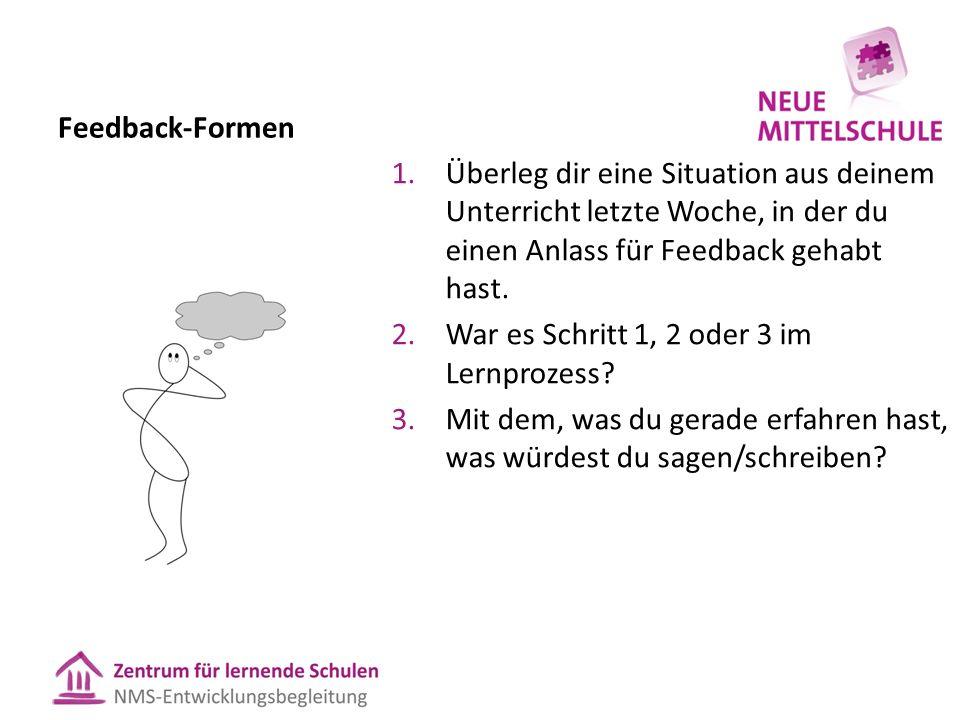 Feedback-Formen 1.Überleg dir eine Situation aus deinem Unterricht letzte Woche, in der du einen Anlass für Feedback gehabt hast. 2.War es Schritt 1,