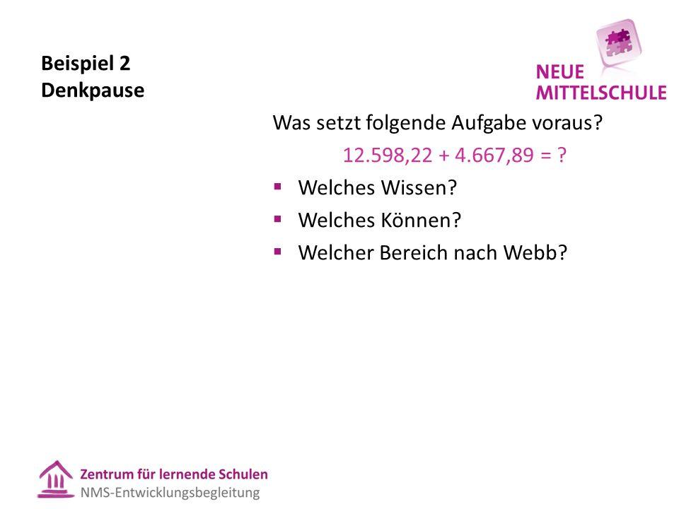 Beispiel 2 Denkpause Was setzt folgende Aufgabe voraus? 12.598,22 + 4.667,89 = ?  Welches Wissen?  Welches Können?  Welcher Bereich nach Webb?