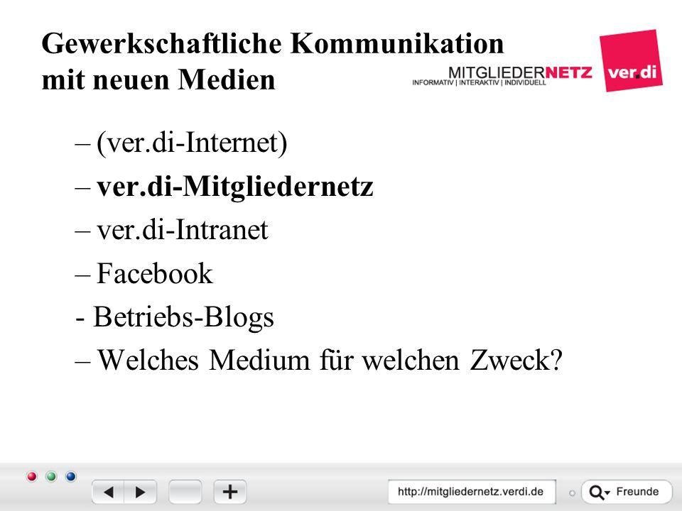 Gewerkschaftliche Kommunikation mit neuen Medien –(ver.di-Internet) –ver.di-Mitgliedernetz –ver.di-Intranet –Facebook - Betriebs-Blogs –Welches Medium für welchen Zweck