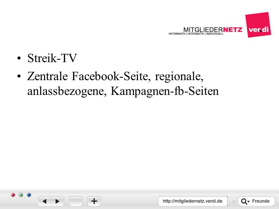 Streik-TV Zentrale Facebook-Seite, regionale, anlassbezogene, Kampagnen-fb-Seiten