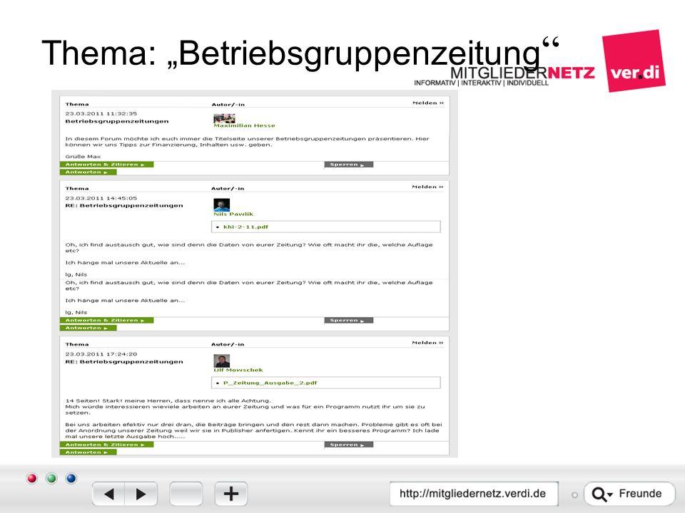 "Thema: ""Betriebsgruppenzeitung"