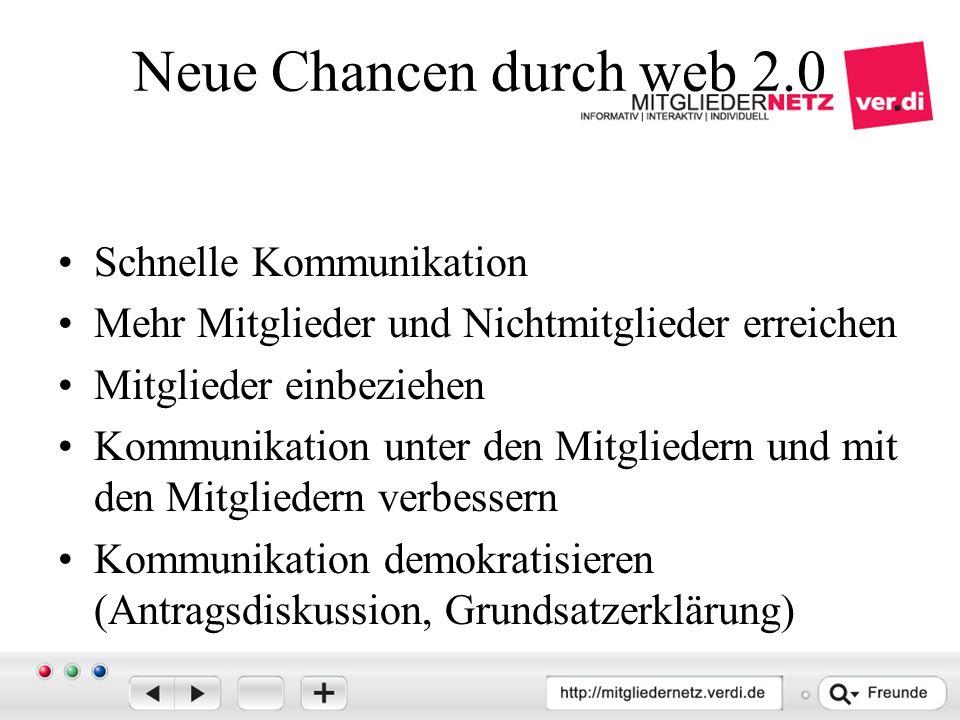 Neue Chancen durch web 2.0 Schnelle Kommunikation Mehr Mitglieder und Nichtmitglieder erreichen Mitglieder einbeziehen Kommunikation unter den Mitgliedern und mit den Mitgliedern verbessern Kommunikation demokratisieren (Antragsdiskussion, Grundsatzerklärung)