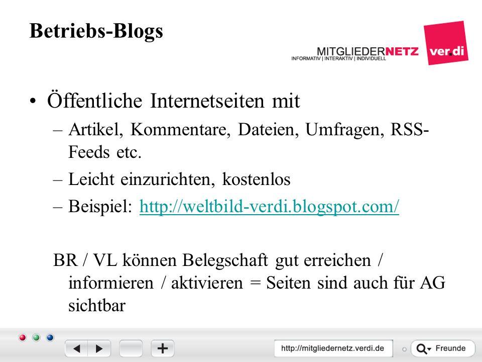 Betriebs-Blogs Öffentliche Internetseiten mit –Artikel, Kommentare, Dateien, Umfragen, RSS- Feeds etc.