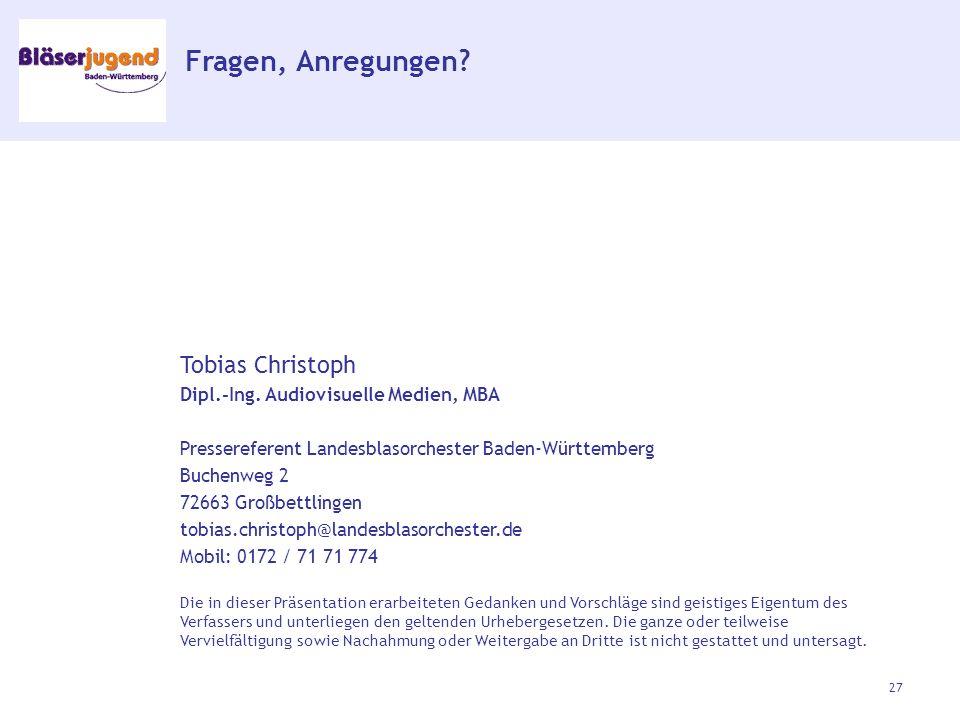 Fragen, Anregungen. Tobias Christoph Dipl.-Ing.