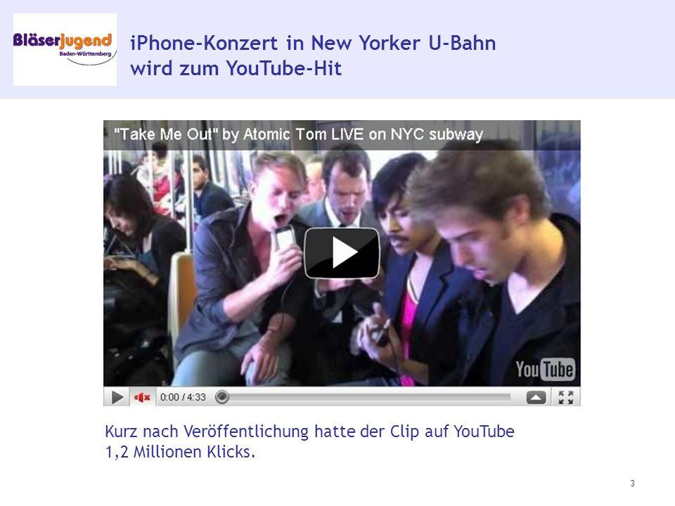 iPhone-Konzert in New Yorker U-Bahn wird zum YouTube-Hit 3 Kurz nach Veröffentlichung hatte der Clip auf YouTube 1,2 Millionen Klicks.