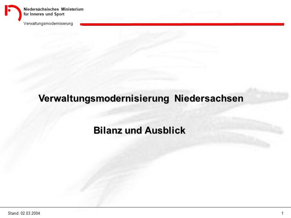 Niedersächsisches Ministerium für Inneres und Sport Verwaltungsmodernisierung 1Stand: 02.03.2004 Verwaltungsmodernisierung Niedersachsen Bilanz und Ausblick