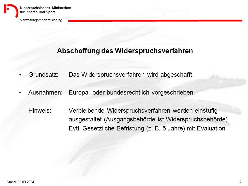 Niedersächsisches Ministerium für Inneres und Sport Verwaltungsmodernisierung 12Stand: 02.03.2004 Abschaffung des Widerspruchsverfahren Grundsatz: Das Widerspruchsverfahren wird abgeschafft.